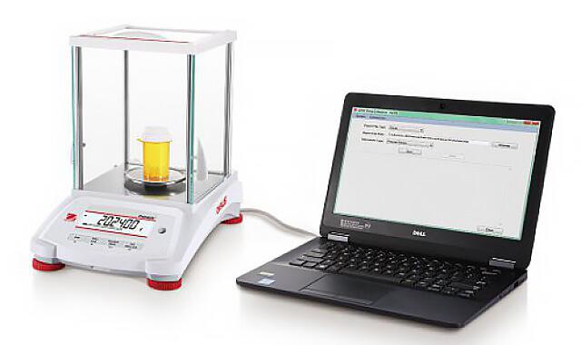Złącza i porty komunikacyjne wagi laboratoryjnej