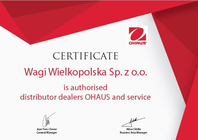 Certyfikat autoryzowanego dystrybutora Ohaus